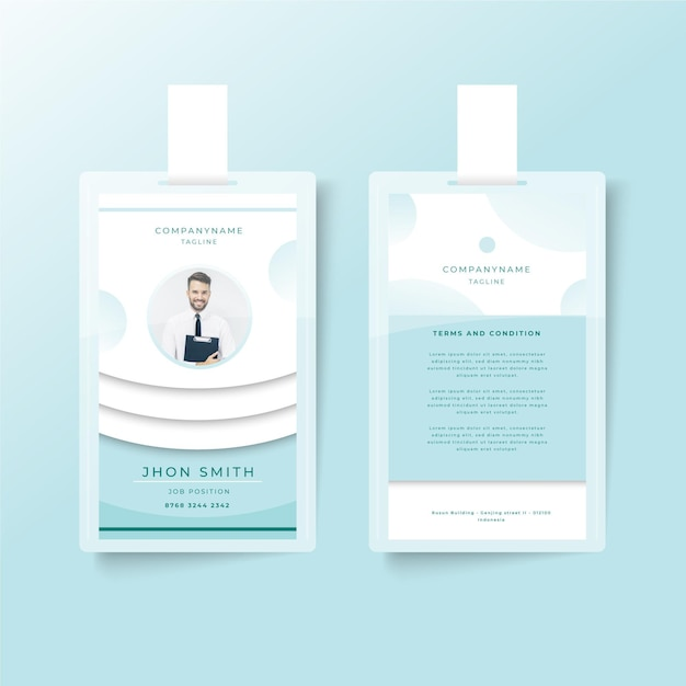 Minimalist id cards template design Free Vector