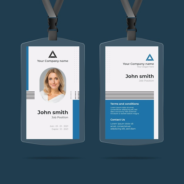 Minimalist id cards template with photo Premium Vector