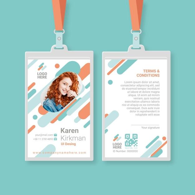 Modello di carte d'identità minimalista con foto Vettore gratuito