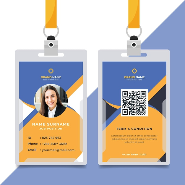 Minimalist id cards template Free Vector