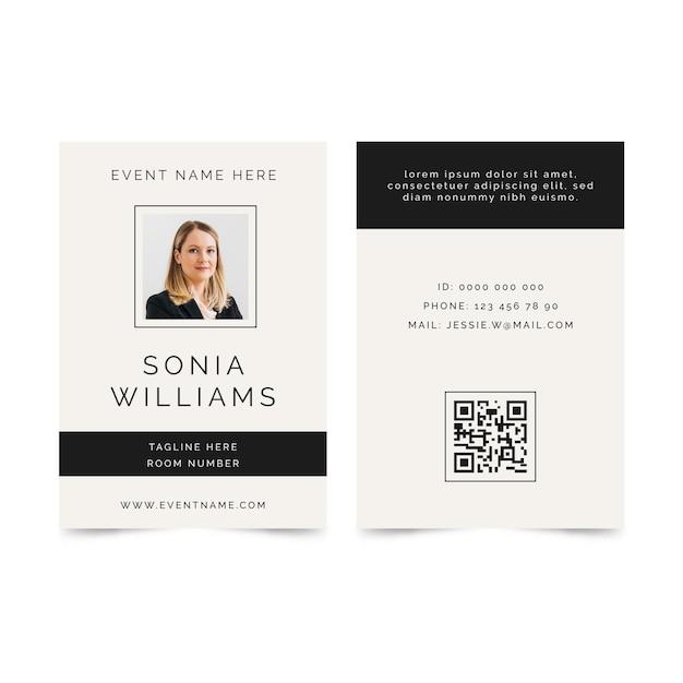 Minimalist id cards template Free Vector