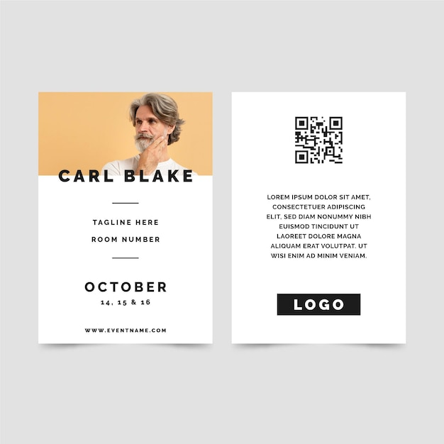 Minimalist id cards with picture Free Vector