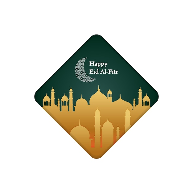 Minimalist illustration for greeting post, happy eid al-fitr Premium Vector
