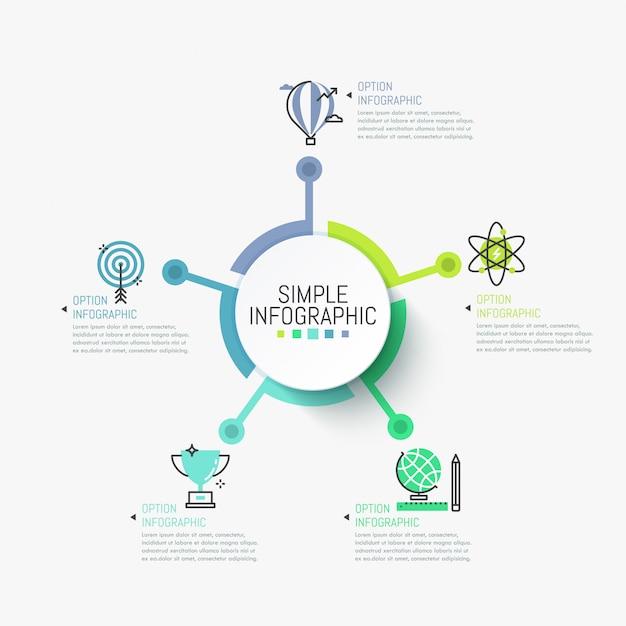シンプルなインフォグラフィックテンプレート。シンボルとテキストボックスに接続された中央の丸い要素。 Premiumベクター