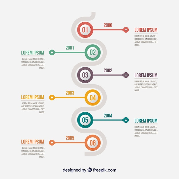 Minimalist infographic with a timeline Free Vector