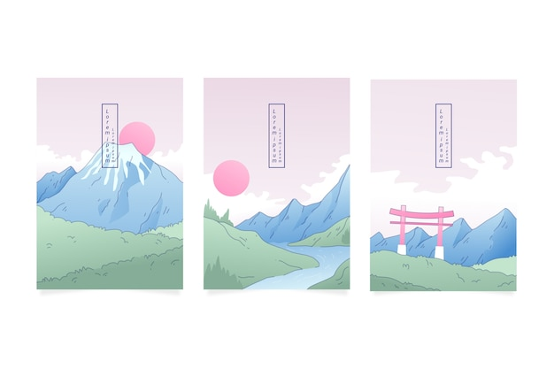 Minimalist japanese cover assortment with mountains Free Vector