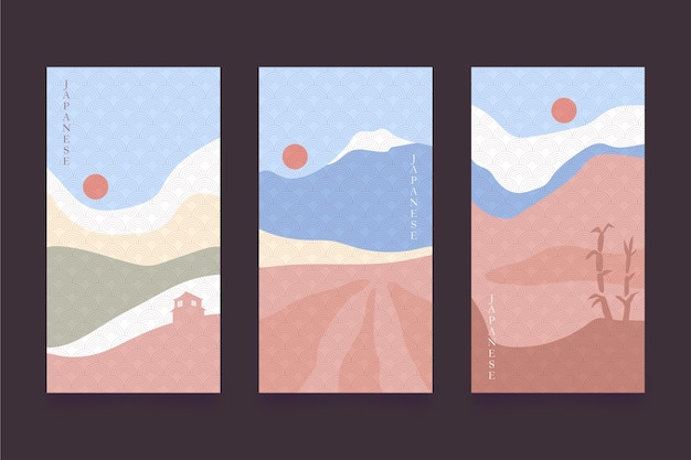 Minimalist japanese cover collection concept Free Vector