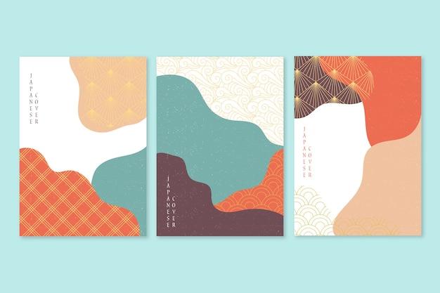 Минималистская концепция коллекции японских обложек Бесплатные векторы