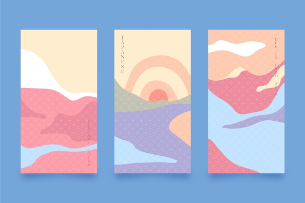 Minimalist japanese cover collection design Free Vector