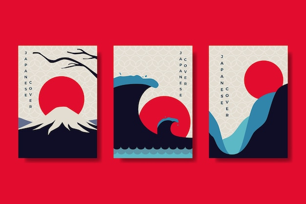Minimalist japanese cover collection theme Free Vector