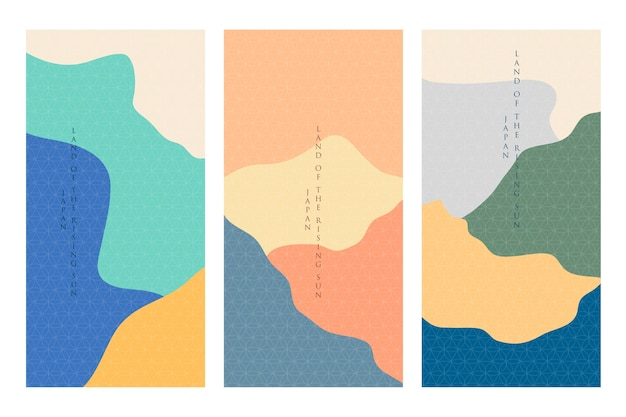 ミニマリストの日本の表紙コレクションのテーマ 無料ベクター