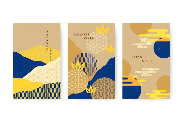 Minimalist japanese cover collection Free Vector