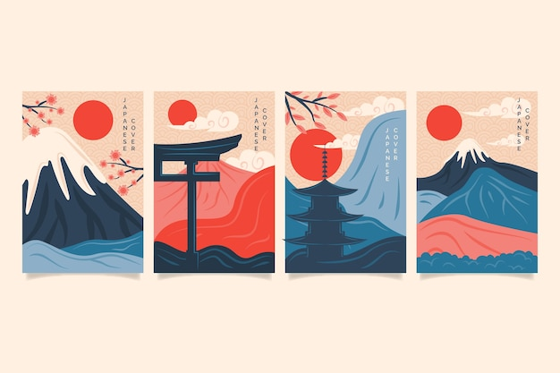 Минималистская коллекция японских обложек Premium векторы