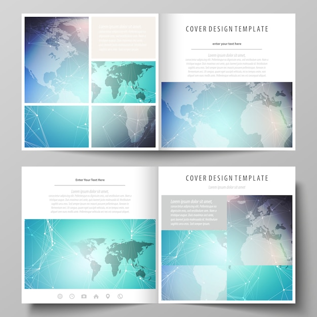 The minimalist layout of two covers templates for square brochure Premium Vector