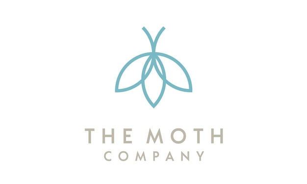 Minimalist line art moth with flower logo design Premium Vector