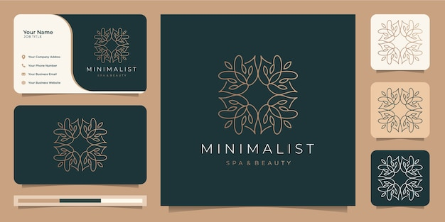 Minimalist line logo .abstract flower logo and business card Premium Vector
