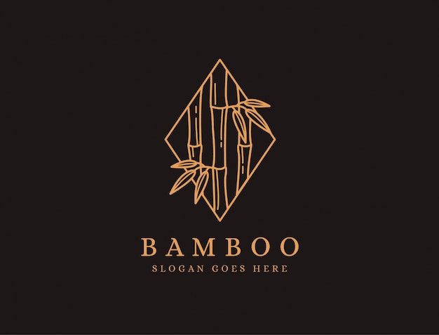 Minimalist lineart bamboo tree logo icon on black background Premium Vector