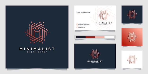 Minimalist logo design photography with initial m. line style design, lens, focus and optical. Premium Vector