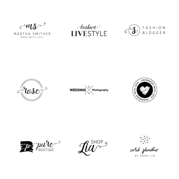 Minimalist logo templates collection vector free download for Minimal art logo
