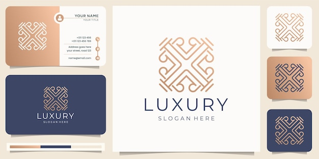 Minimalist luxury line art style. ornament logo abstract design with business card template Premium Vector