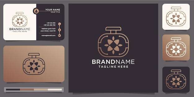 Minimalist luxury perfume logo with business card template Premium Vector