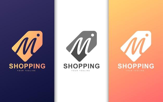 モダンなコンセプトの値札のミニマリストm文字のロゴ Premiumベクター