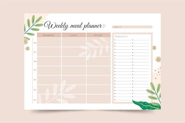Minimalist meal planner template with leaves Free Vector