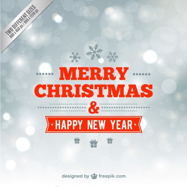 minimalist merry christmas and happy new year card free vector