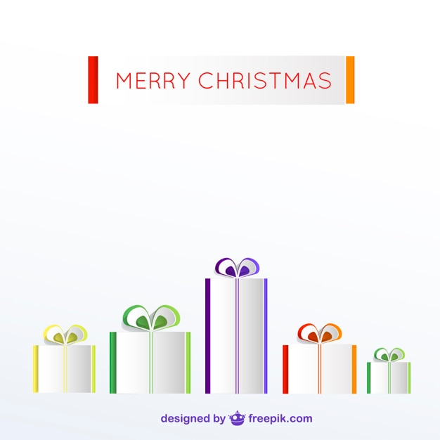 Minimalist merry Christmas card with\ presents