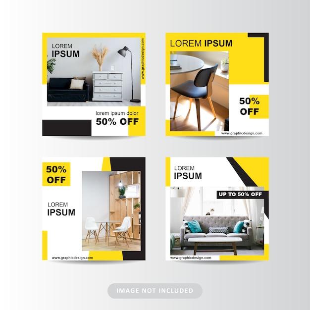 Минималистская современная мебель в социальных сетях Premium векторы