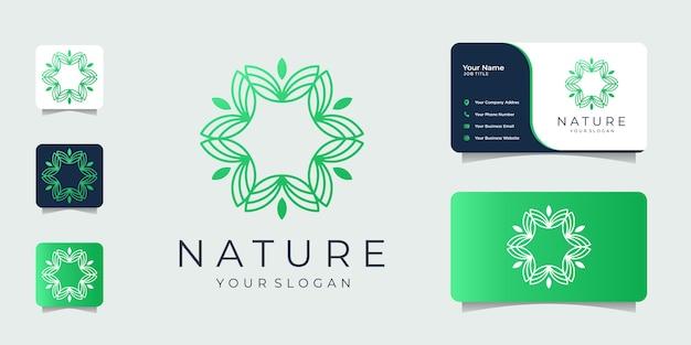 Minimalist nature  design inspiration line art logo and business card. Premium Vector