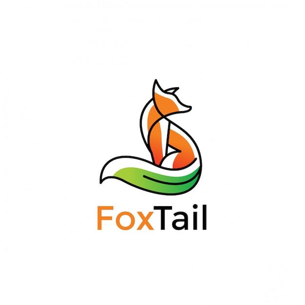 Минималистский дизайн логотипа green fox Premium векторы