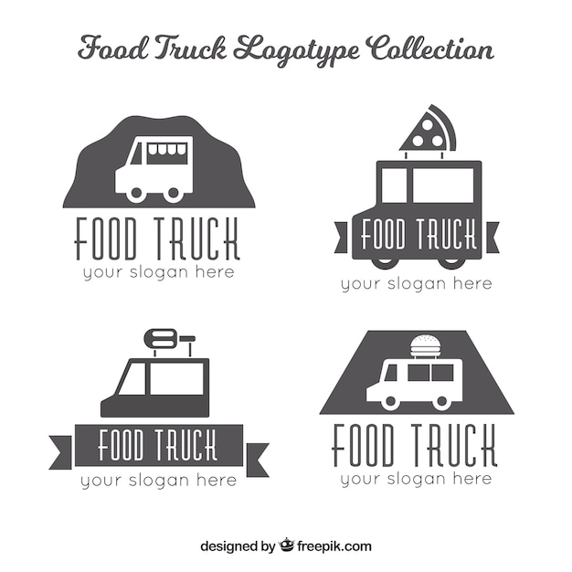 Minimalist pack of food truck logos