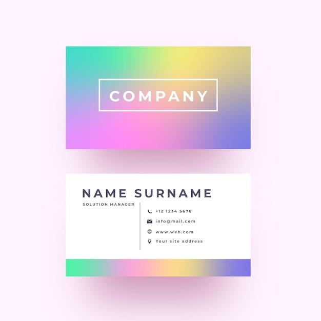 Minimalist pastel gradient business card Free Vector