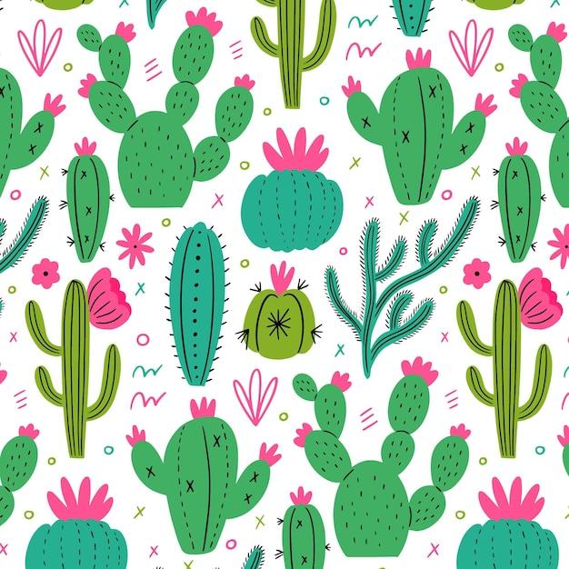 Modello minimalista con piante di cactus Vettore gratuito