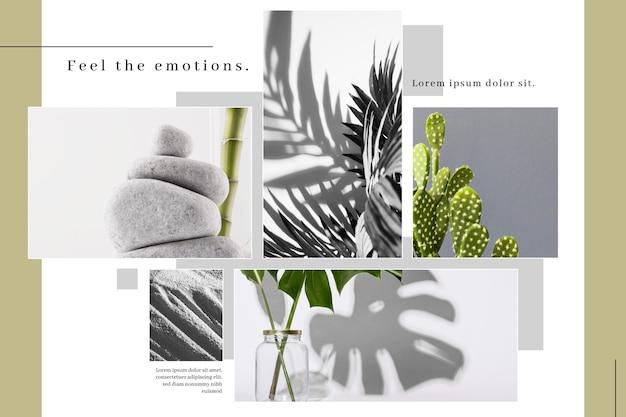 Modello minimalista per collage di foto Vettore gratuito