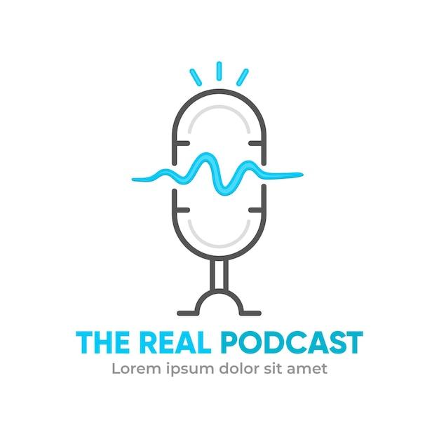 Modello di logo podcast minimalista Vettore gratuito