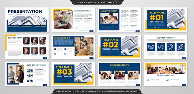 비즈니스 연례 보고서 및 인포 그래픽에 대한 깨끗한 스타일 사용으로 미니멀 한 프리젠 테이션 템플릿 프리미엄 벡터