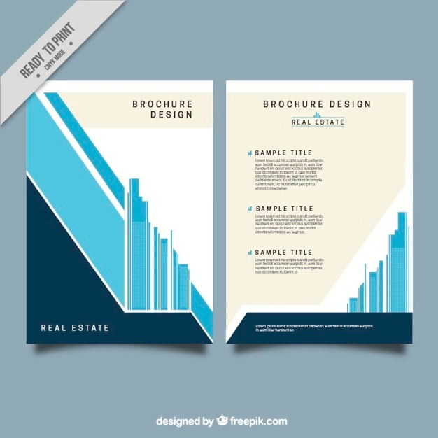 Minimalist real estate brochure in flat design Free Vector