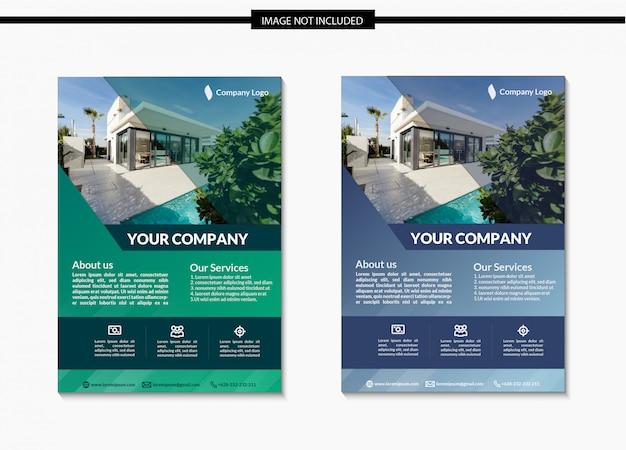 Minimalist real estate flyer template design in a4 Premium Vector