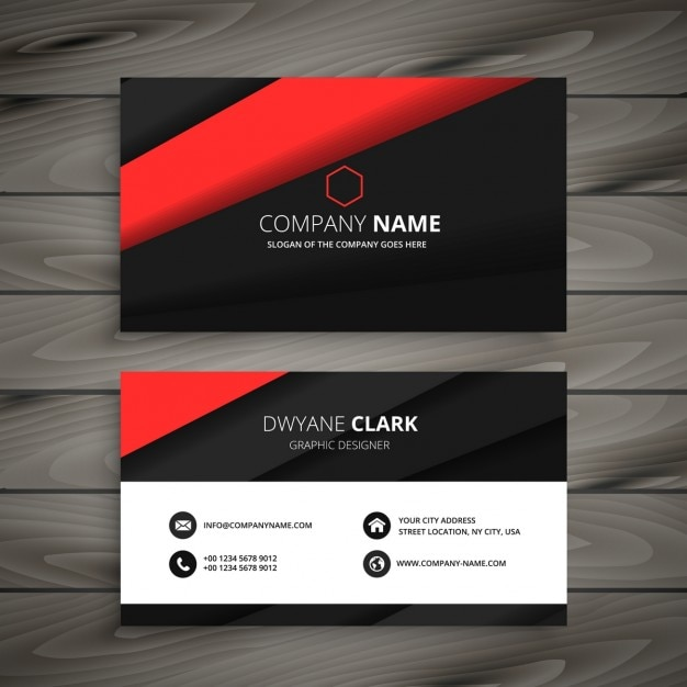 Minimalist Red And Black Business Card Free Vector