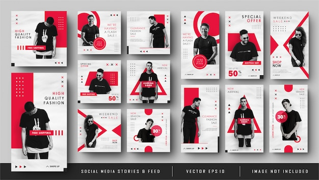 Minimalist red white social media instagram feed post and stories banner Premium Vector