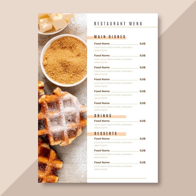 Минималистский шаблон меню ресторана в вертикальном формате Бесплатные векторы