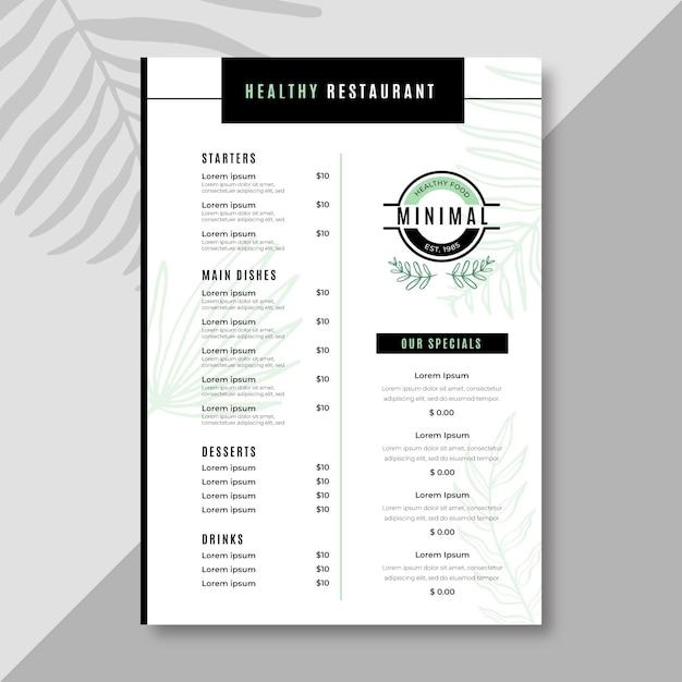 Минималистский шаблон меню ресторана Бесплатные векторы