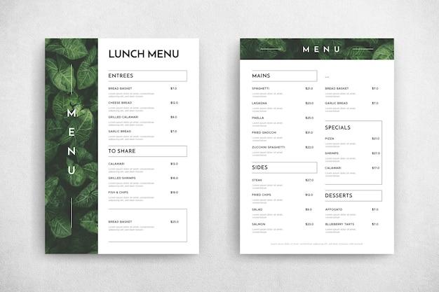 Минималистичный шаблон меню ресторана Бесплатные векторы