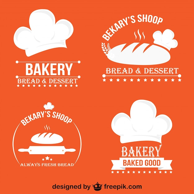 Minimalist retro bakery logos and badges set Premium Vector