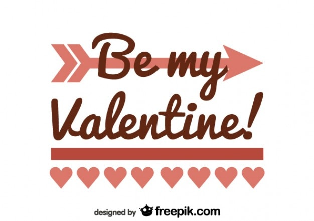 Minimalist Retro Be My Valentine Card Design Free Vector