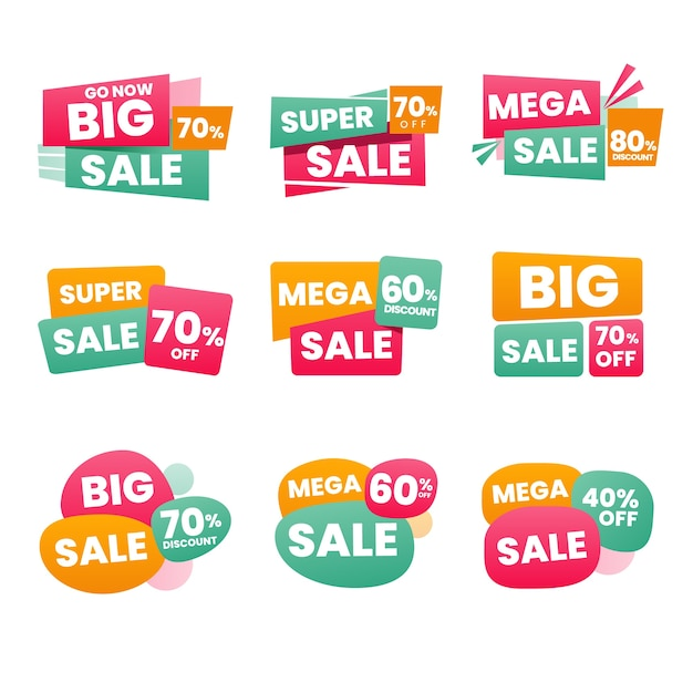Minimalist sales label pack Free Vector
