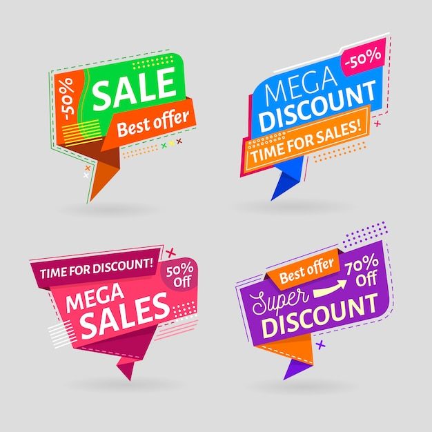 Minimalist sales promotion label collection Free Vector