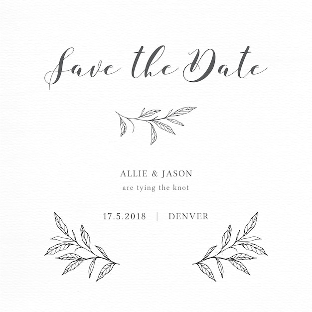 Minimalist save the date card with elegant branches and leaves Free Vector